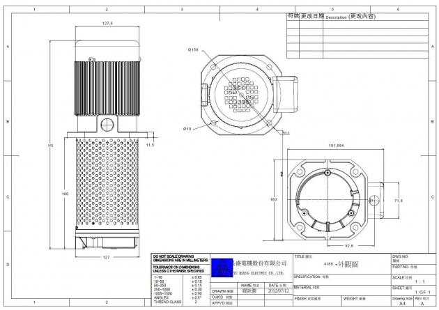 TC-4180 1/4HP Coolant pump, 180mm (7